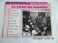 CARTE FICHE PLAISIR DE CHANTER MAURICE CHEVALIER LE TWIST DU CANOTIER