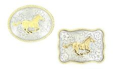 Running Horse Mustang ~WESTERN BELT BUCKLE~ NOCONA Silver Gold, Oval Square