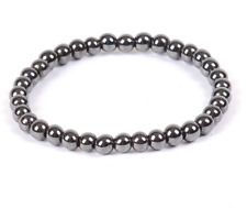 UK  Hematite Silver Grey Crystal Gemstone 6mm Bead Bracelet.