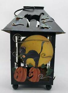 Kathy Hatch Metal Halloween Lantern Candle Holder Prop Pumpkins and Cats