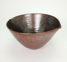Large Vintage Scandinavian Pottery Brown Glazed Ceramic Bowl E/0456
