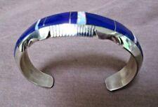 Navajo Lapis & Opal Inlay & Sterling Cuff Bracelet  Steve Francisco JB0148