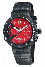 CCCP AKULA CHRONOGRAPH DATE RED DIAL BLACK LEATHER MEN'S WATCH CP-7005-02 NEW