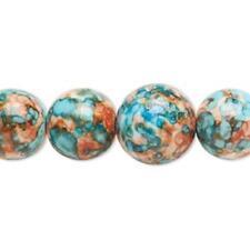 7575 Beads Porcelain Round Blue Orange 6-14mm 16inch *UK EBAY SHOP*