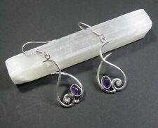 Natural Amethyst Gemstone Earrings - 925 Silver Plated