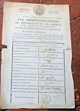 1797  document pour la vérification des signatures des administrateurs du Loiret