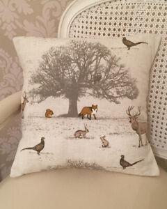 Handmade Cushion Cover In Fryetts Woodland Scene 16X16 Inch Stag, Fox, Owl, Tree