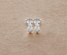 Stud Earrings 3.5x6 mm. 925 Sterling Silver Tiny Pineapple
