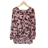 Trenery Purple Pink Floral Top Loose fit Plus Size XXL Blouse Paisley Relaxed