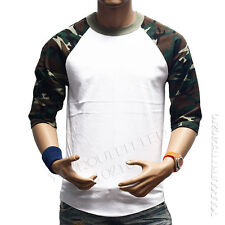 3/4 Sleeve S-3XL Camouflage Baseball T-Shirt  Raglan Plain Camo Tee Men's Sports