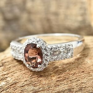 Mocha Scapolite Wh Topaz Camb. Zircon Platinum O/Sterling Silver Ring 10  #JR275