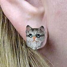 Conversation Concepts Silver Shorthaired Tabby Cat Earrings Post