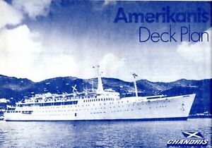 Large Chandris Lines AMERIKANIS Deck Plan from 1979 Showing 8 Decks - Excellent