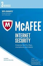 McAfee 2017/2018 Internet Security 1 Year 3 Users for PC/Mac OS/Android/iOS NEW