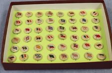 Antique 48 Country Flag Pinbacks SWEET CAPORAL 1896 Cigarette Button Pin Lot