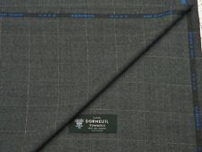 DORMEUIL 'CASHMERE TOWNTEX' 95%WOOL 5%CASHMERE SUITING FABRIC GREY/BLK CHECK3.5M