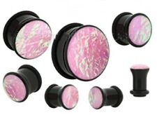 "PAIR-Foil Pink Opal Acrylic Single Flare Plugs 19mm/3/4"" Gauge Body Jewelry"