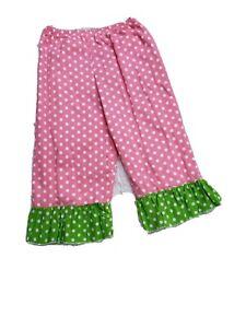 Girls Ruffle Pants Size 4/5 Pink Green Polka Dots School Fun Party