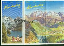 Alter Reiseprospekt Kandersteg Lötschberg Panorama Zeichnungen Fotos 1960er