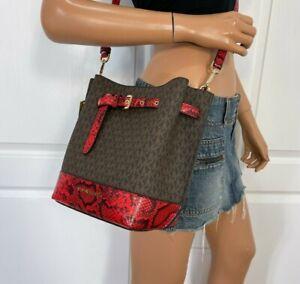 NWT Michael Kors Emilia Small Drawstring Bucket Bag Brown Leather New