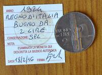 REGNO D' ITALIA BUONO 2 LIRE VITTORIO EMANUELE III 1924 sigillato SPL SUBALPINA