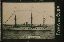 MOLTKE SHIP TOBACCO CARD, FAMA DE CUBA CIGARETTES VENEZUELA CIRCA 1910