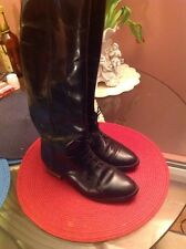 MARC ALPERT MARIA PIA black leather equestrian Riding boots lace pull on. Italy