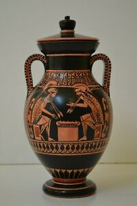 Greek Pottery, Hand made replica, Bilingual, Achilles & Ajax playing pessous