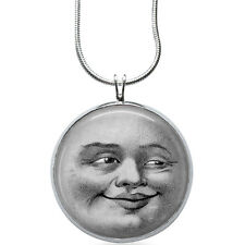 Man in the Moon Necklace - Moon Jewelry - Face Pendant