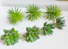 Set of 7 Artificial Mini Green Grass Mini Pine tree Succulents Plants