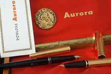 AURORA  DOBLONE 2 PENNE STILOGRAFICHE fountain pen  PARTI ORO  GOLD 14 e 22 KT