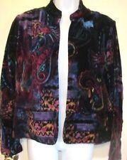 Chico's Jeweltone Abstract Cotton Velvet Open Front Jacket Sz 1....8/10~GC