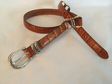 """Coldwater Creek L Croco Embossed Leather Etched Hardware Belt  Fits 33-37"""" USA"""
