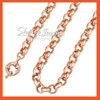18K ROSE GOLD FILLED BELCHER CHAIN RINGS LINKS SOLID LADIES GIRLS NECKLACE GIFT