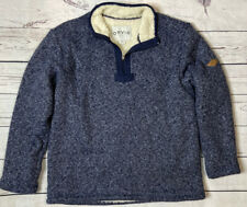 Orvis Brighton Quarter Zip Sherpa Lined Pullover Sweater Blue Mens M
