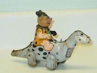 Vintage Marx Tin Litho Fred Flintstone and Dino, Wind Up Toy, Works