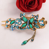 Vintage Chinese Court Style Crystal Butterfly Hair Clips Ladies Oriental Hairpin