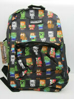 """Minecraft Characters All Over Print 16"""" Backpack Book Bag Tote W/Bottle Pocket"""