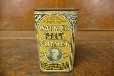 Vintage J R Watkins Medical Co Pure Ground Nutmeg Spice Tin Half Pound Winona MN