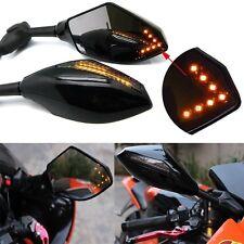Universal LED Motorradspiegel Rückspiegel mit E-Prüfzeichen 10 mm/M10 - Schwarz