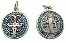 Red Blue Enamel Saint Benedict of Nursia Evil Protection Medal, 1 Inch