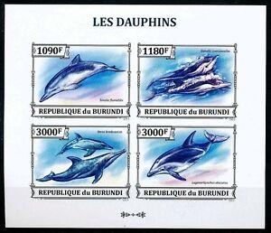 Dolphins, Fish, Marine Life, BURUNDI 2013 MNH 4v Imperf SS