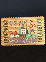 Vintage Collectible Homemakers US 5 Cent Stamp Colorful Metal Pin Back Lapel Pin