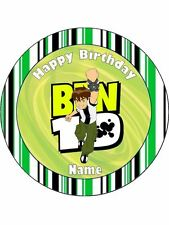 """BEN 10 19CM ROUND WAFER PAPER WITH BONUS 2"""" CUPCAKE TOPPERS 12 #1"""