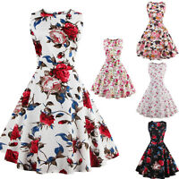 Floral Vintage Style Retro Pinup 50s 60s Big Circle Rockabilly Swing Dress