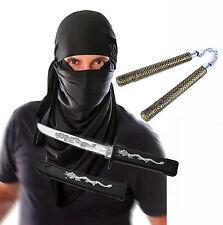 Mens Adult Ninja Terrorist Black Hood Halloween Fancy Dress Costume with Toys
