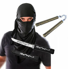 Mens Adult Ninja Black Hood Halloween Fancy Dress Costume with Toys