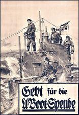German World War I U Boat Submarine  Propaganda Recruitment War  Poster Print