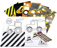 Construction Trucks Coloring Book with Crayons Party Favors, 6 Pack