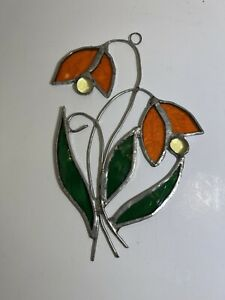 Vintage DECORATIVE FLORAL STAINED GLASS  Window Decor